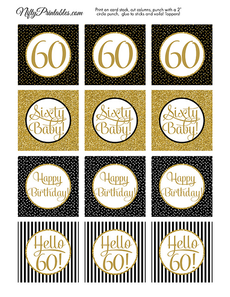 Printable 60th Birthday Cupcake Toppers Black Gold