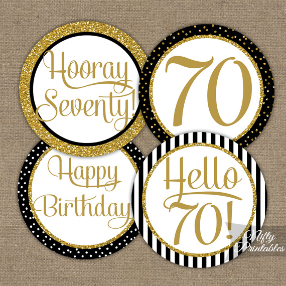 Printable 70th birthday cupcake toppers black gold for 70 birthday decoration ideas