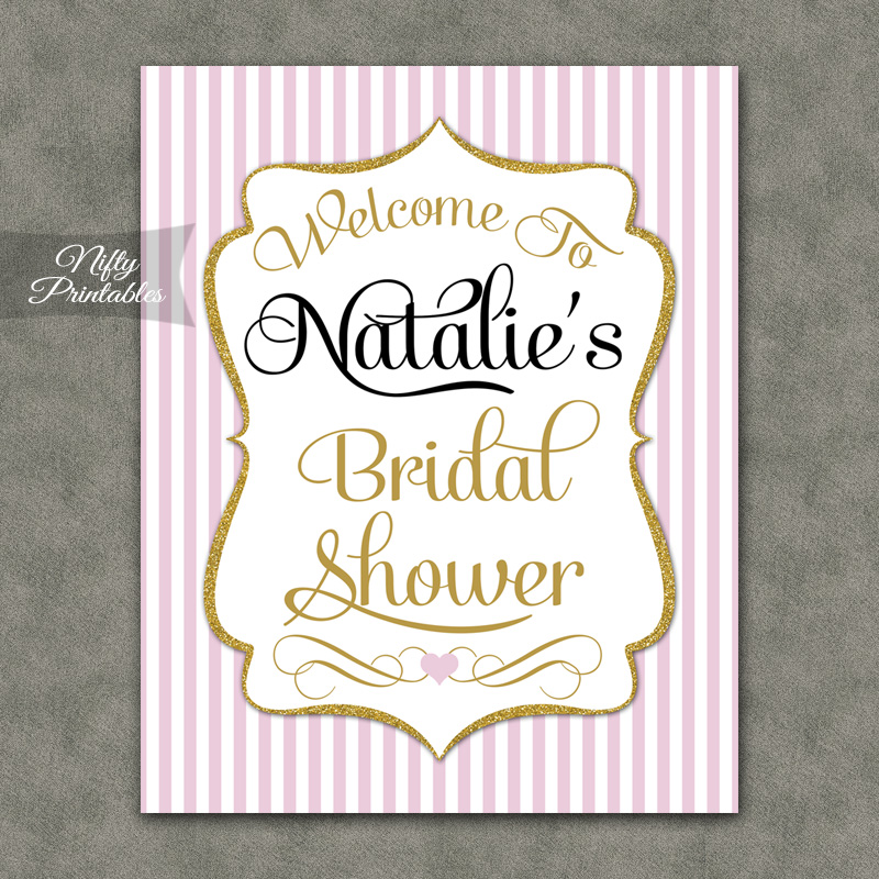 Pink gold bridal shower welcome sign nifty printables for Wedding shower signs