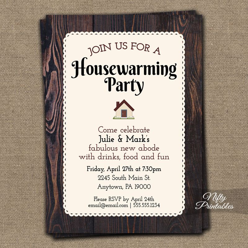 Brown Wood Housewarming Invitations - Nifty Printables