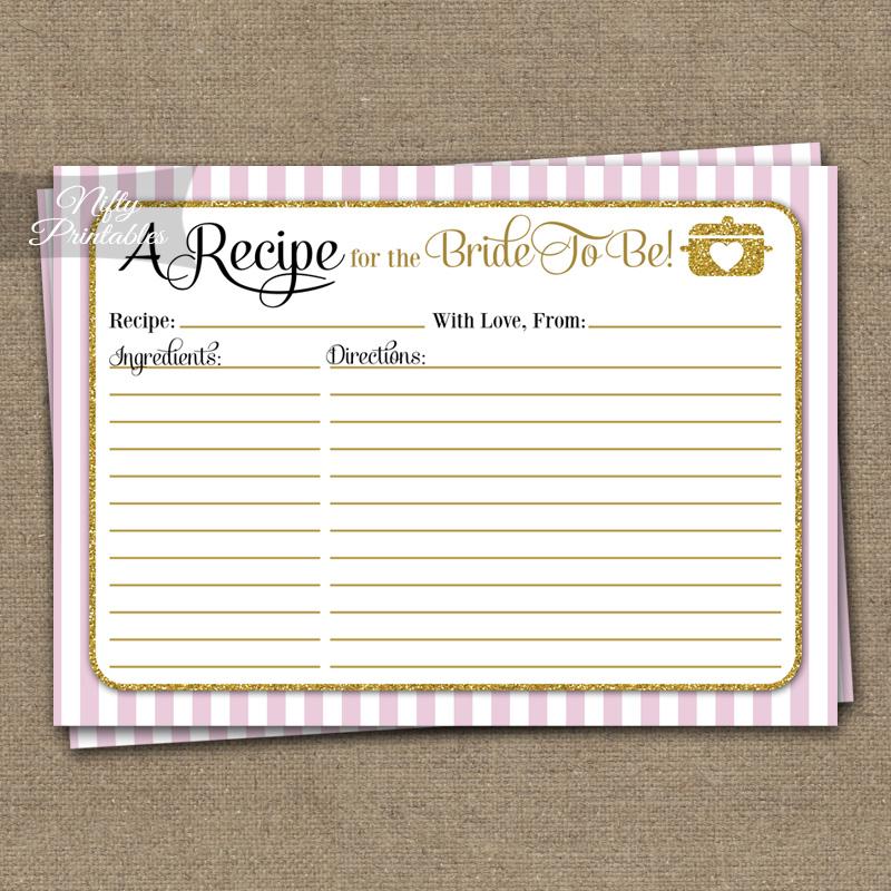 Printable Bridal Shower Recipe Cards Pink Gold