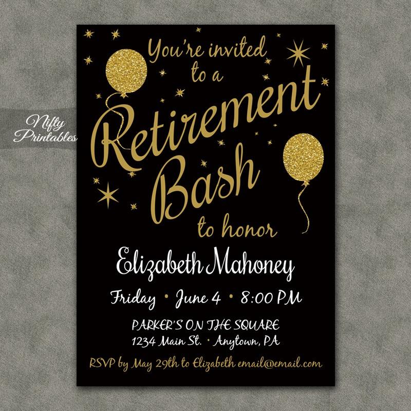 Glitter Balloons Retirement Invitations - Nifty Printables