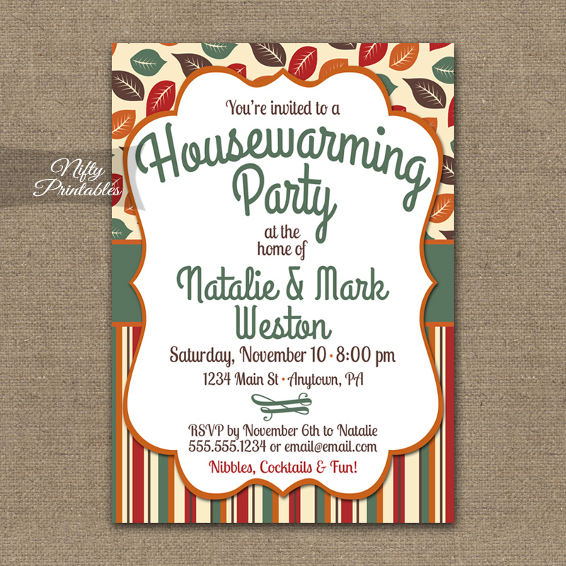 Autumn fall housewarming invitations nifty printables