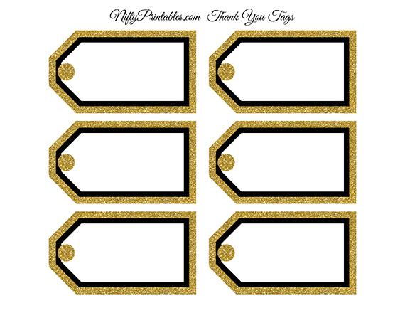 Printable Blank Tags Blank Favor Tags Black Gold