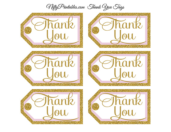 Pink Gold Thank You Tags -Rect - Nifty Printables