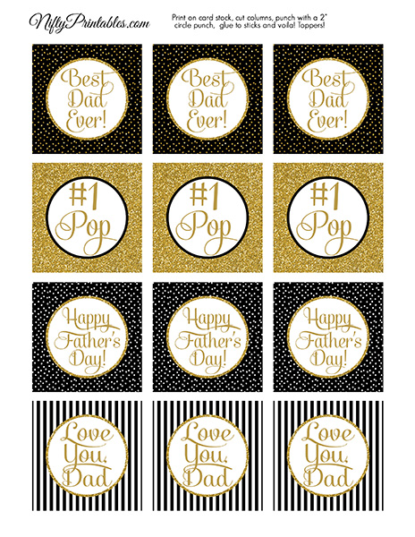 Printable Fathers Day Cupcake Toppers - Black Gold