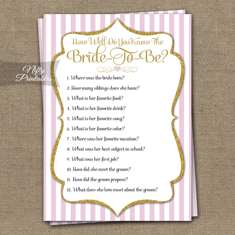 Printable How Well Do You Know The Bride Shower Game
