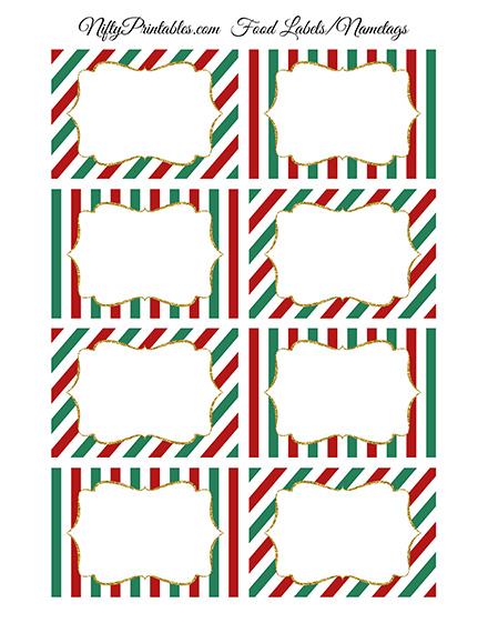 Christmas Blank Labels Nametags - Nifty Printables