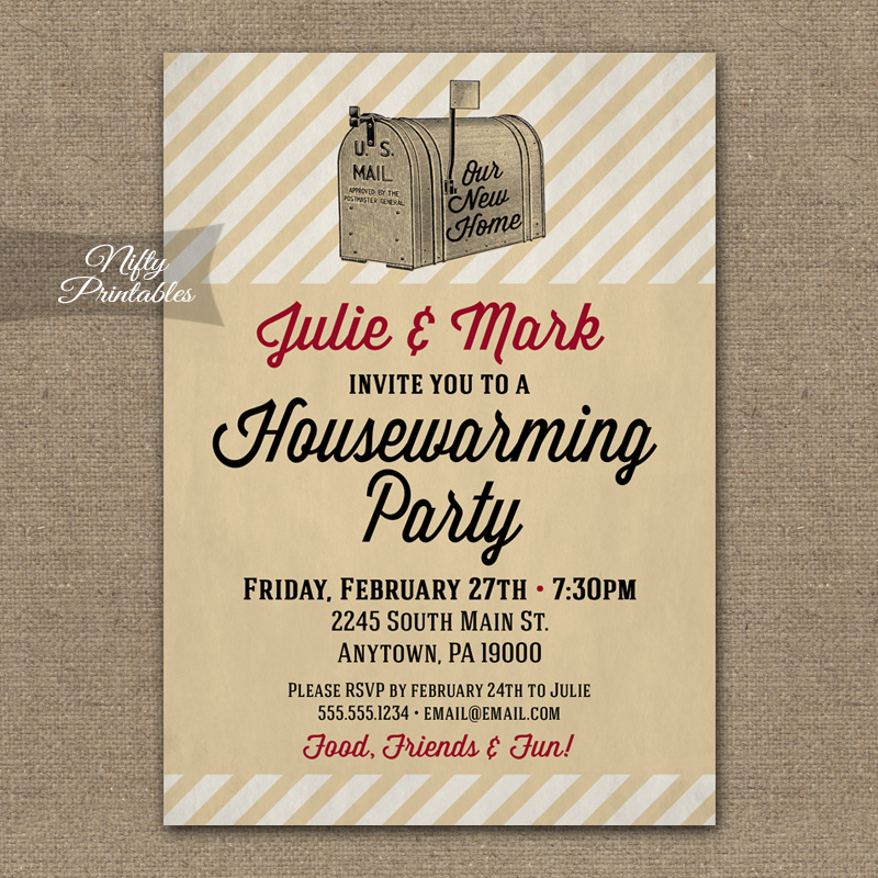 Housewarming Invitations - Vintage Mailbox - Nifty Printables
