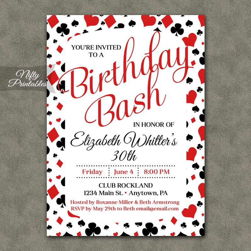 Birthday invites casino theme