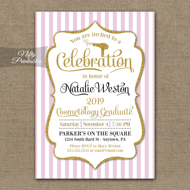 Cosmetology School Graduation Invitations - Nifty Printables