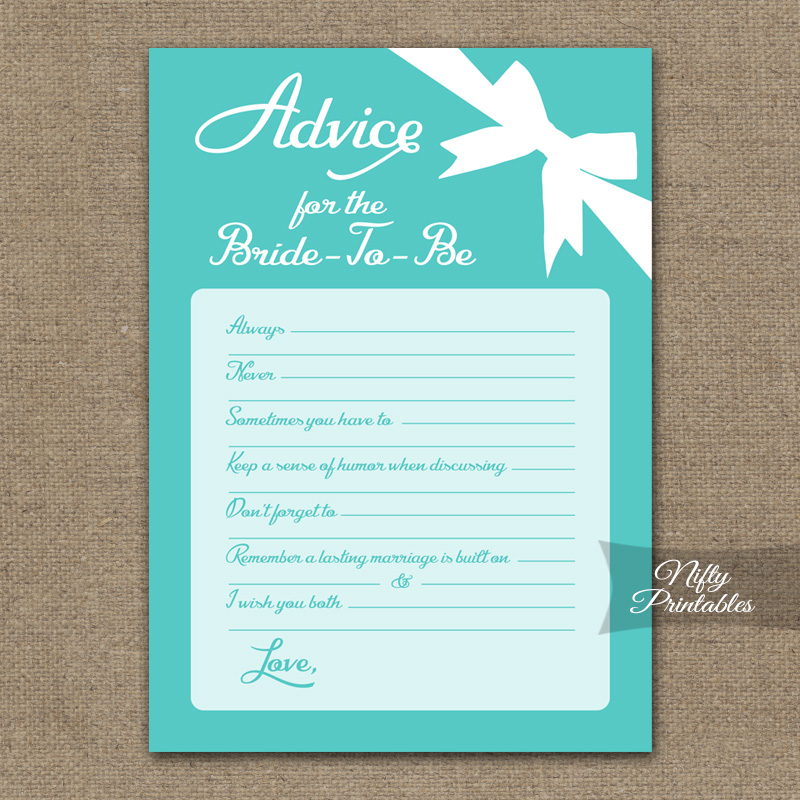 Printable bridal shower advice cards tiffany blue for Bridal shower advice cards template