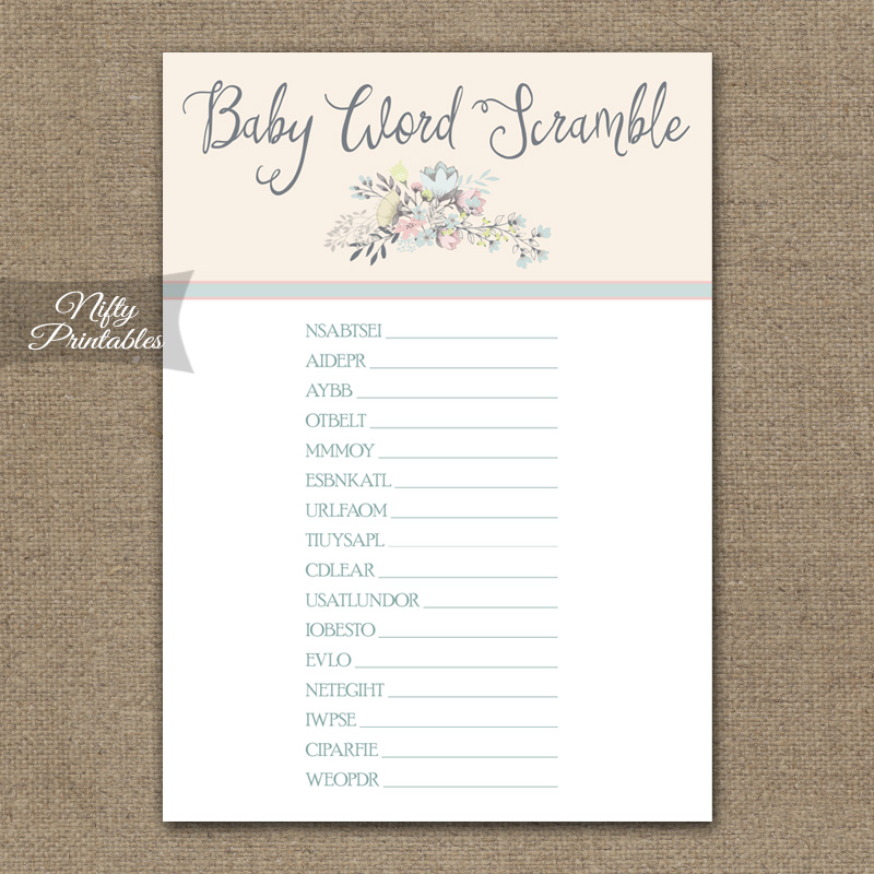 Printable baby shower word scramble game floral bouquet
