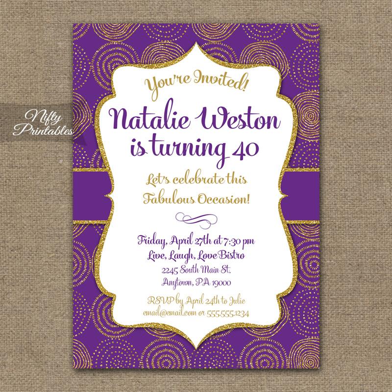 Purple & Gold Birthday Invitations - Nifty Printables