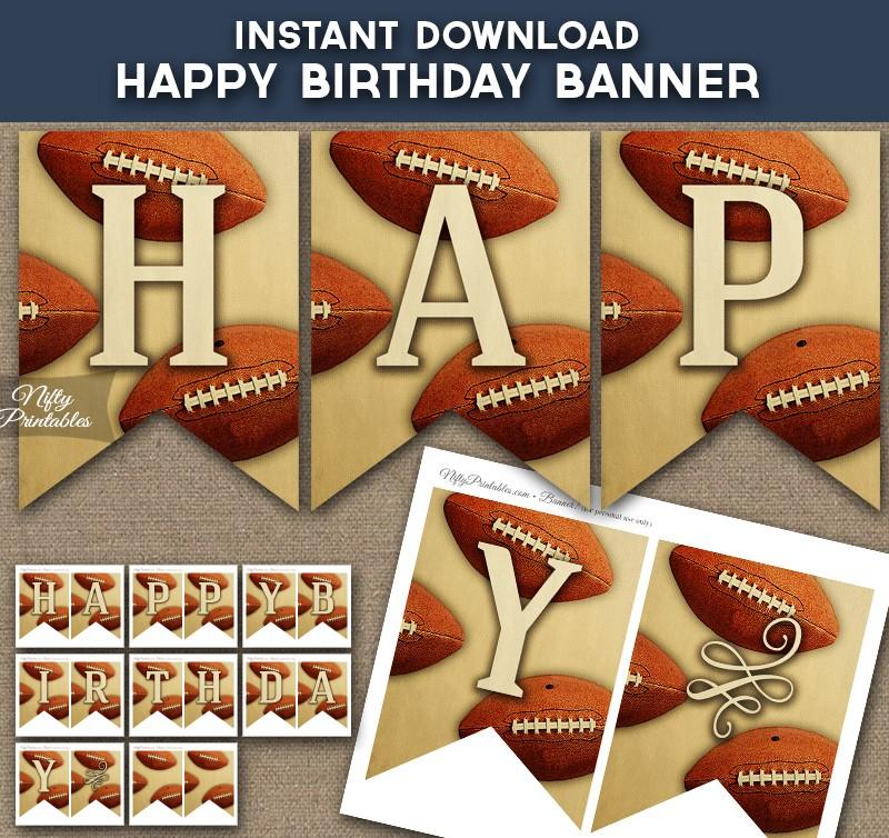 Printable Vintage Birthday Banner ~ Printable football happy birthday banner vintage sports