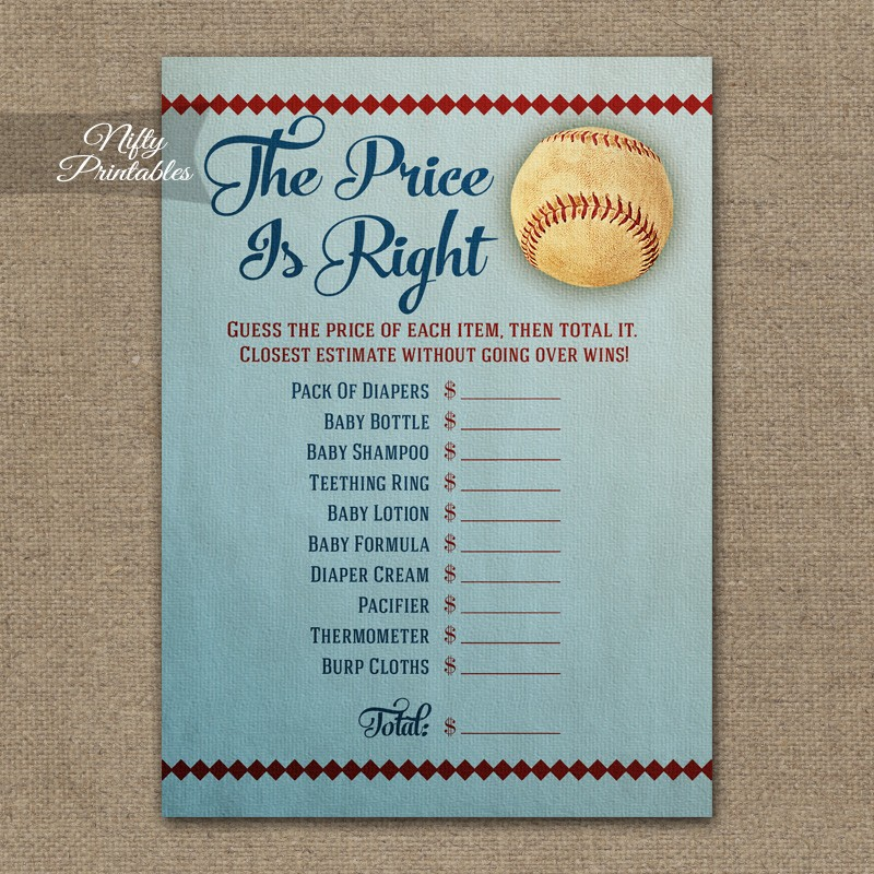 printable price is right baby shower game baseball