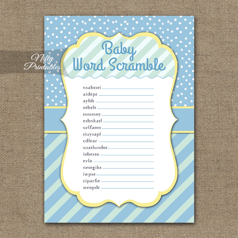 Printable baby shower word scramble game blue yellow whimsey