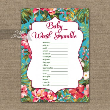 Printable baby shower word scramble game football