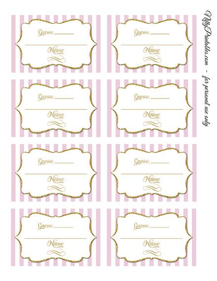 printable candy guessing game pink gold. Black Bedroom Furniture Sets. Home Design Ideas