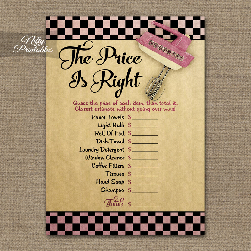 Custom Card Template wedding advice cards template : Printable Price Is Right Bridal Shower Game - Kitchen Shower