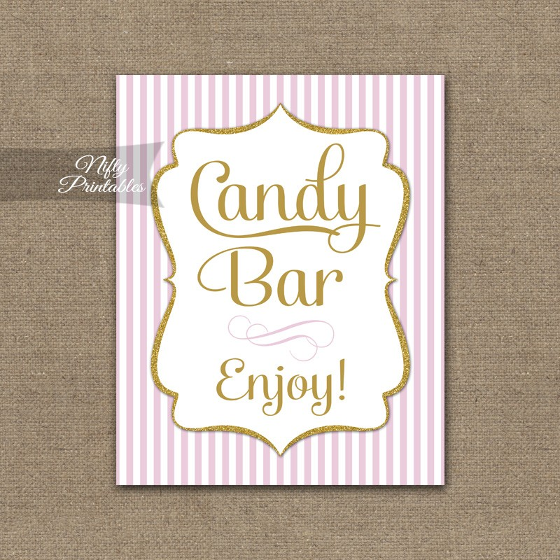 Printable Candy Buffet Sign - Pink Gold