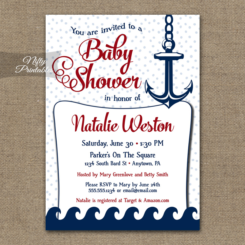 Home Baby Shower Baby Shower Invitations Red Nautical Baby Shower