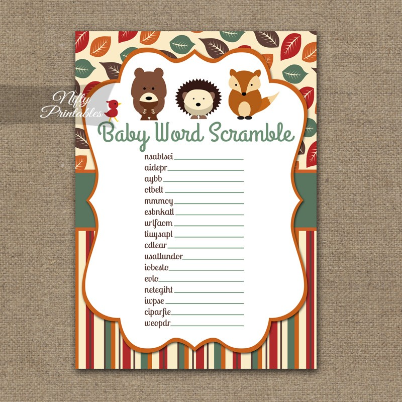 Printable baby shower word scramble game woodland baby