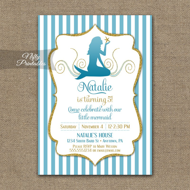Mermaid Birthday Invitations - Nifty Printables