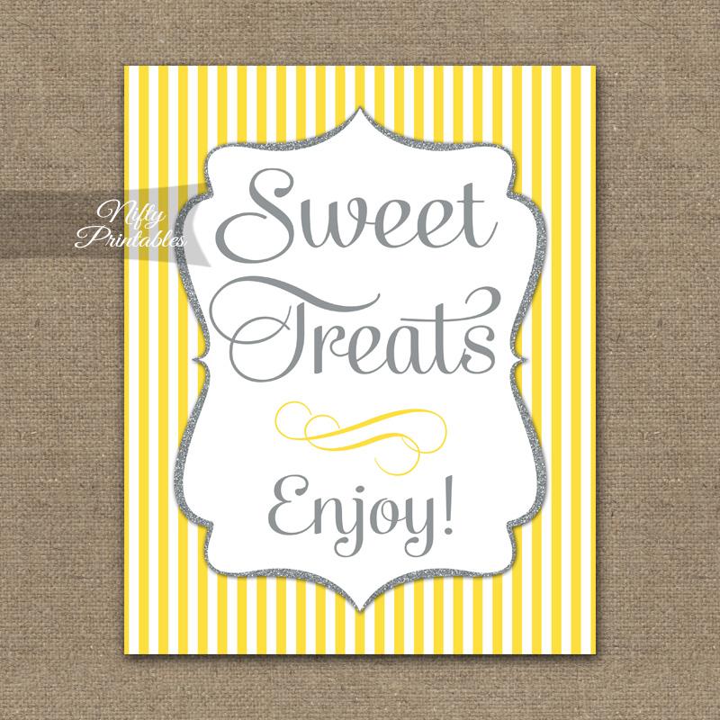 Printable Sweet Treats Dessert Sign - Yellow Gray