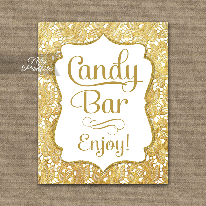 Candy Buffet Sign Gold Lace Nifty Printables
