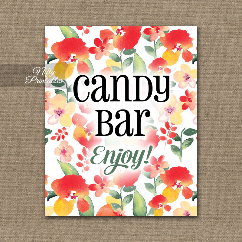 Candy Buffet Sign - Red Floral - Nifty Printables