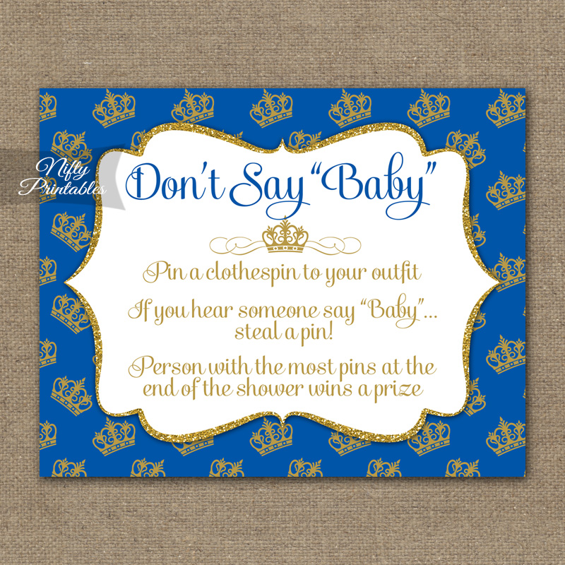 Don't Say Baby Shower Game - Royal Baby Shower - Nifty ...