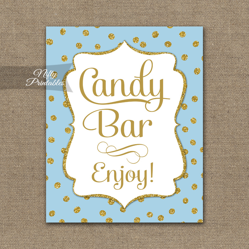 Candy Buffet Sign - Blue Gold Dots - Nifty Printables
