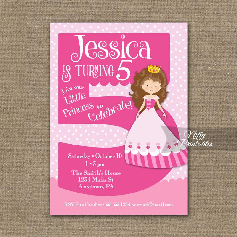 5th Birthday Invitation Pink Princess Invitation Nifty