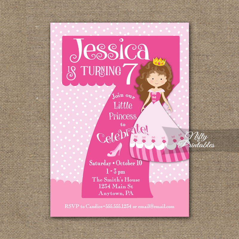 7th Birthday Invitation - Pink Princess Invitation - Nifty ...