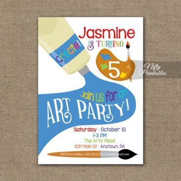Art Party Invitation - Paint Party Birthday Invitations