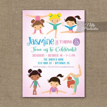 Gymnastics Birthday Invitation - Pink Gymnastics Birthday Party