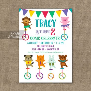 Animals Birthday Invitation - Unicycle Birthday Animal Party