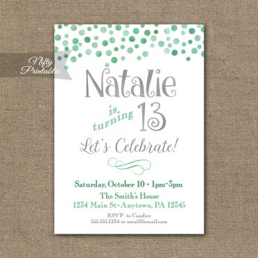 Mint Confetti Birthday Invitation - Teen Tween Birthday Party