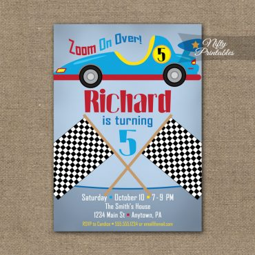 Race Car Birthday Invitation - Racecar Invitations