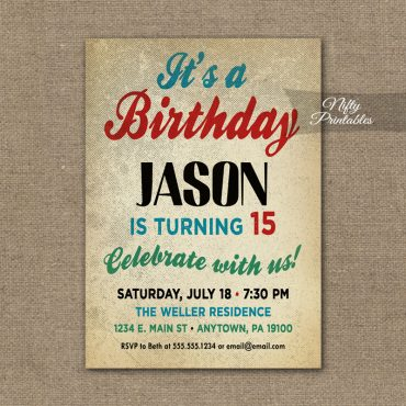 Teen Boys Birthday Invitation - Teen Tween Invitations