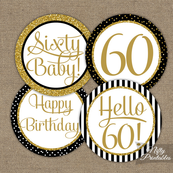 60th Birthday Cupcake Toppers - Black Gold