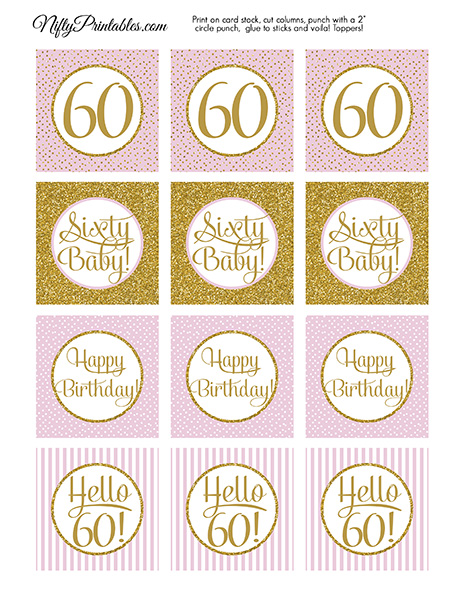 60th Birthday Cupcake Toppers - Pink Gold