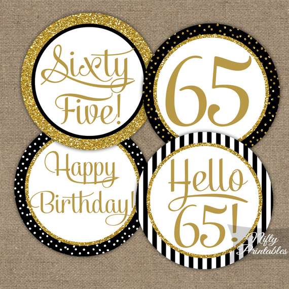 65th Birthday Cupcake Toppers - Black Gold