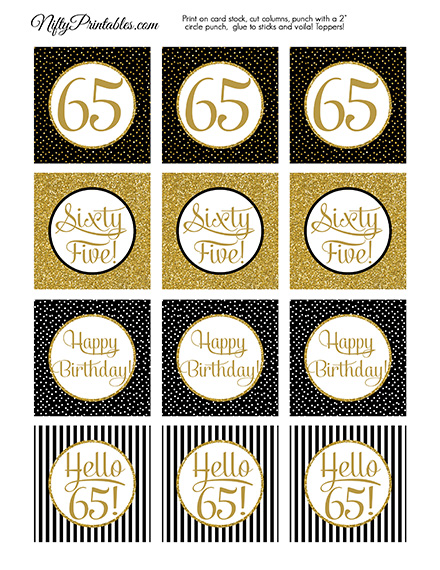65th Birthday Cupcake Toppers
