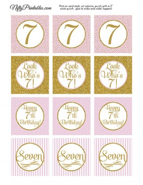7th Birthday Cupcake Toppers - Pink Gold