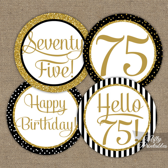 75th Birthday Cupcake Toppers