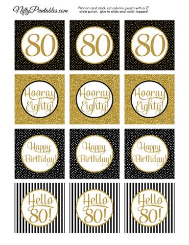 80th Birthday Cupcake Toppers - Black Gold