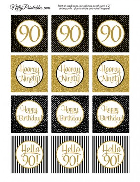 90th Birthday Cupcake Toppers - Black Gold
