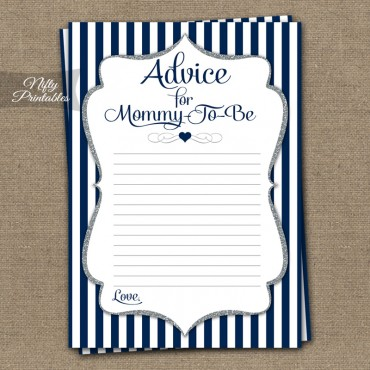 Advice For Mommy Baby Shower Game - Navy Blue Silver